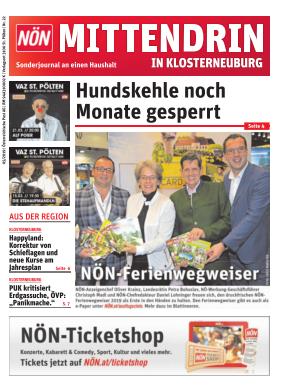 Titelblatt NÖN Postwurf Klosterneuburg